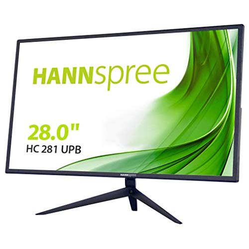 HANNSPREE HC281UPB - Altoparlante inclinabile 4K Ultra HD 350cd 2X DP HDMI, 71,1 cm (28') 4K Ultra HD 350cd 2X DP HDMI, Design Sottile, Pip PbP, Colore: Nero