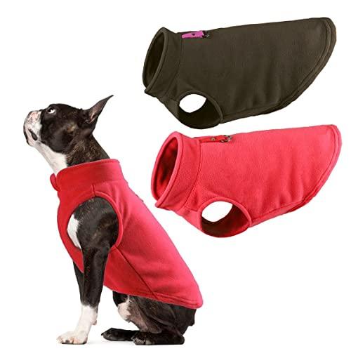 OWBB 2er Hundepullover Fleece Weste, Warm Pullover Fleece Hundejacke mit Leine Attachment, Winter Hundepullover Mantel, Kaltwetter Hundebekleidung für kleine Hunde, Innen und Außeneinsatz