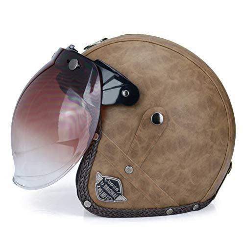 Lederhelme 3/4 Motorrad Chopper Fahrradhelm Offenes Gesicht Vintage Motorradhelm Retro Helm Maske Vintage Helme Bubble Visier
