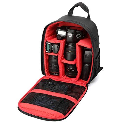 Draagbare digitale slr camera schoudertas, outdoor rugzak, anti-vibratie, schoudercamera rugzak, geschikt voor diverse cameratassen, met statief, Zwart met rood