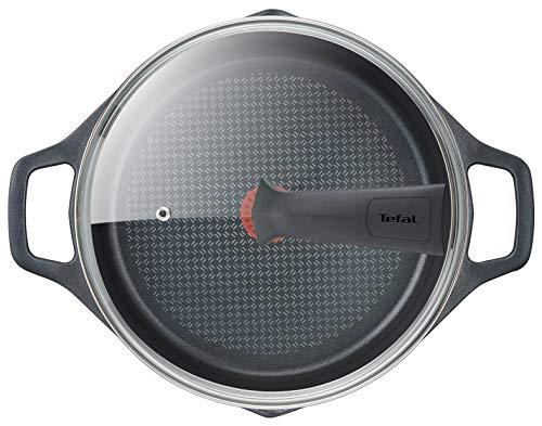 Tefal Aroma - Olla de 28 cm aluminio fundido y tapa, antiadherente revestimiento de titanio, con picos vertedores, apta para todo tipo de fuegos incluso inducción