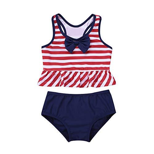 iEFiEL Baby Mädchen Badebekleidung mit Polka Dots/Gestreifter Tankini Bikini Zweiteiler Badeanzug Bademode für Kleinkinder gr. 62-110 Streifen & Rot 92-98