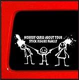wandaufkleber 3d Wandtattoo Kinderzimmer Auto Aufkleber Auto Aufkleber Niemand kümmert sich um Ihre Strichmännchen Familie Auto Die Cut Sticker Decal 7 '' White