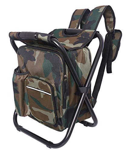 Rucksack-Hocker mit Kühler, isolierter Picknicktasche, Angelzubehör, zusammenklappbar, Campingstuhl, geeignet für Angeln, Strand, Camping, Wandern, Reisen und andere Outdoor-Sportarten - camouflage