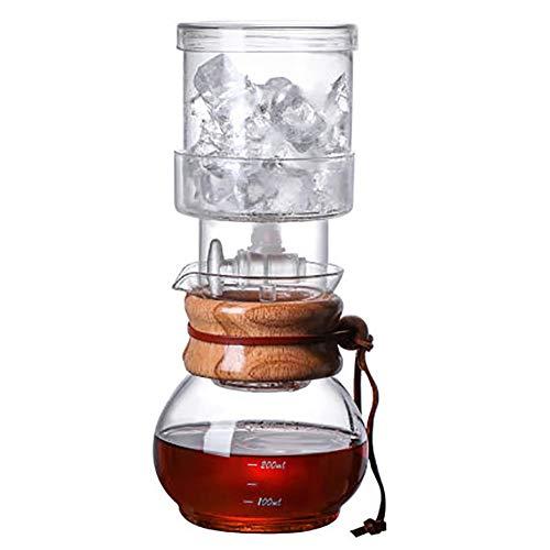 CHUIX Ice Kaffeekanne Aus EIS Tropfen Glas, Glasfilter Wiederverwendbaren Werkzeug, Das Wasserdurchfluss-Regelventil, Amerikanischen Kaffee Zu Hause Und Genießt EIS, Transparent