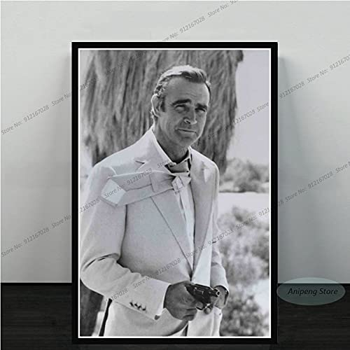 meishaonv Sean Connery Attore di Film James Bond 007 with Guns Poster Art Canvas Painting Picture for Living Room Home Decor A2928 50 × 70 CM Senza Cornice
