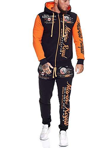 OneRedox | Herren Trainingsanzug | Jogginganzug | Sportanzug | Jogging Anzug | Hoodie-Sporthose | Jogging-Anzug | Trainings-Anzug | Jogging-Hose | Modell JG-512 Orange S