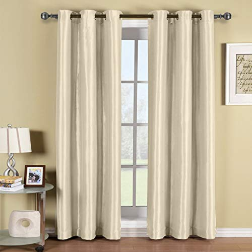 Soho Beige Grommet Blackout Window Curtain Panel, Solid Pattern, 42x96 inches, by Royal Hotel