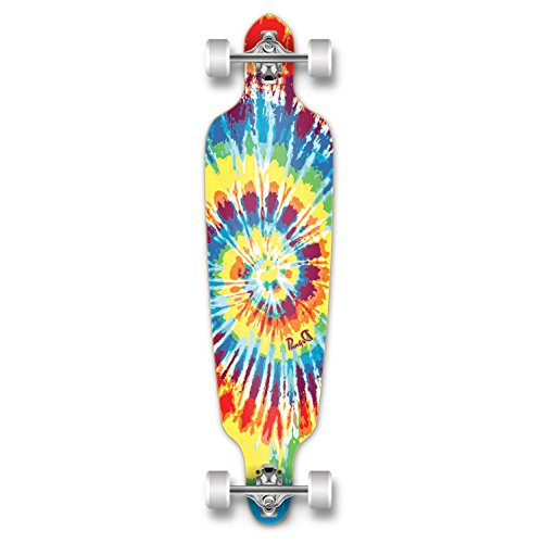 Punked graphique Drop Through Longboard complet professionnel vitesse Skateboard Noir/gris Tiedye...