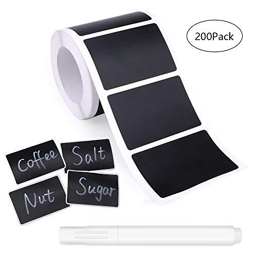 200 x Nero Lavagna Adesivi Etichette con 1 x pennarello cancellabile Etichette colorate Partner per cucine Vasetti per spezie adesivi riutilizzabili adesivi per lavagna Adesivi lavagna (4*6cm)