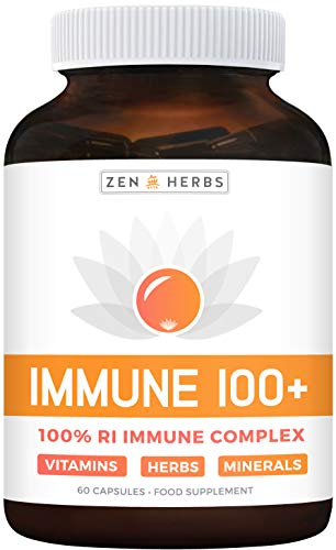 Vitamin C Immune Booster (Non-GMO) High Strength Immune Support Supplement - Full Daily Value VIT D3, B6, E, Zinc, Magnesium, Selenium - Turmeric, Ginger, Olive Leaf - 60 Capsules (No Tablets, Pills)