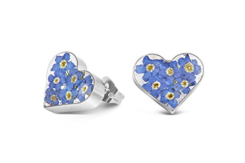 Sterling Silver Heart Stud Earrings Made With Real Forget Me Nots