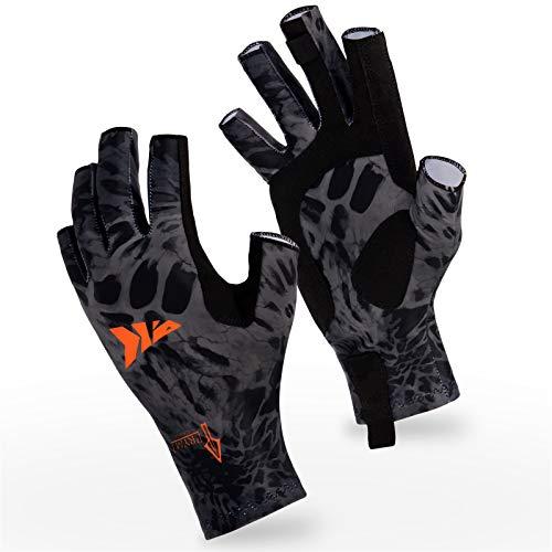 KastKing Sol Armis Sun Gloves UPF50+ Fishing Gloves UV Protection Gloves Sun Protection Gloves Men Women for Outdoor, Kayaking, Rowing, Blackout Prym1,Large - X-Large