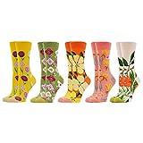 WeciBor Damen Lustige Bunte Socken Witzige Strümpfe Bunte Gemusterte Muster Beiläufig Socken Verrückte Modische Mehrfarbig Socken (5 Paar Blume)