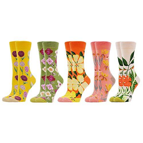 WeciBor Socken für Damen, Motiv: Ladies, lange Socken aus Baumwolle, bedruckt, bunt, Mehrfarbig Einheitsgröße