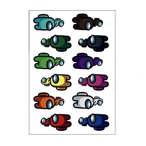 Folletos De Dibujos Animados Entre Nosotros Serie De Juegos De Embalaje Transparente A Prueba De Agua Pegatinas Decorativas PDA Teléfono Móvil Papelería De Bricolaje Pegatinas (Color : Styled)