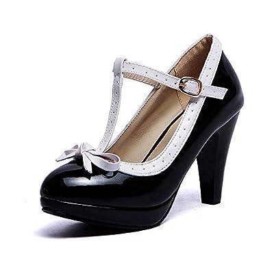 Robasiom Fashion T Strap Bows Womens Platform High Heel Pumps Shoes (6.5, Black2)