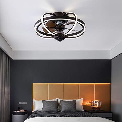 Ventilador de techo de 20 pulgadas, luz LED, 72 W, moderno, regulable, con mando a distancia y control por aplicación, 3 velocidades, motor silencioso