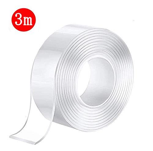 両面テープ 魔法テープ 魔法両面テープ テープ はがせる のり残らず 水洗い可能 繰り返し 滑り止め 超強力 防水 透明 絨毯 カーペット 机足 固定 壁紙 写真 ポスター 貼り付け用など (3cmx2mmx3m)