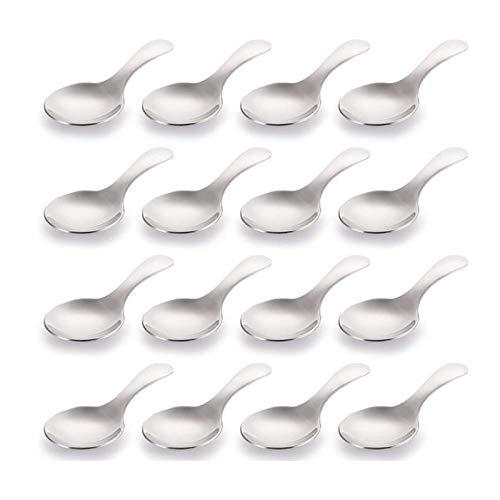 Mogzank Paquete de 16 Cucharas de Manejar Corto Cucharas de Sal, Cuchara de Condimentos de Acero Inoxidable, Cucharas de Postre Redondas para Sal, Té, Café