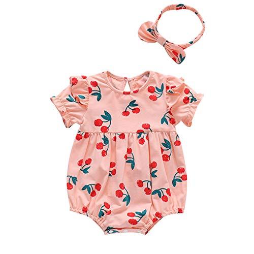 Hui.Hui Nouveau-né Infant Bébé Filles Imprimer Ruché Barboteuse Bodysuit et Bandeau Vêtements d'été Tenues Mode Costume pour 3 Mois - 2 Ans