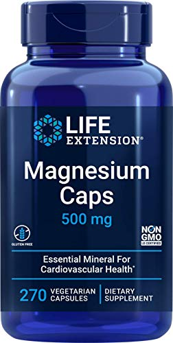Life Extension Magnesium Caps 500mg, 270 Vegetarian Caps - 4 Mags in 1 Supplement: Oxide, Citrate, Succinate, Glycinate
