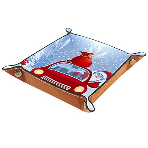 Bandeja de Valet, Caja de Almacenamiento de Cuero de PU, Organizador de bandejas, Caja de Almacenamiento para Relojes, Monedas, Monedas, Billetera, árbol de Navidad, Santa, Rojo, Coche, Regalo, Bolsa