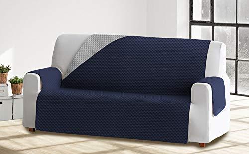 Cabetex Home - Cubre sofá Reversible Bicolor con ajustes - Microfibra Acolchada Antimanchas (Gris/Azul, 3 Plazas)