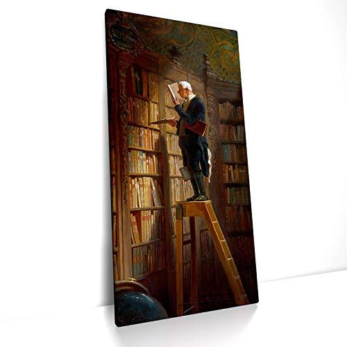 CanvasArts Carl Spitzweg - der Bücherwurm - Leinwand Bild auf Keilrahmen - The Bookworm (80 x 40 cm, Leinwand auf Keilrahmen)