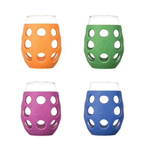 Lifefactory Wine Glass with Protective Silicone Sleeve, 4-pack, Orange, Cobalt, Grass Green and Huckleberry