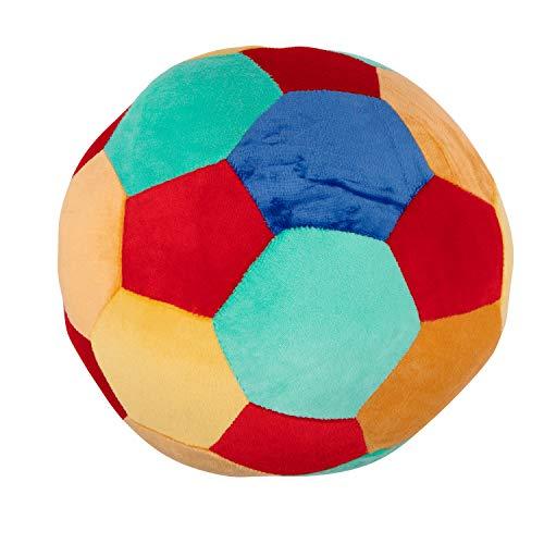 Bieco Softball Baby Rassel | Ø 25 cm | Stoffball Baby mit Rassel | Plüschball | Greifball für Babys | Rasselball zum Greifen | Baby Ball | Knautschball | Regenbogenball Rassel Baby | Spielball Baby