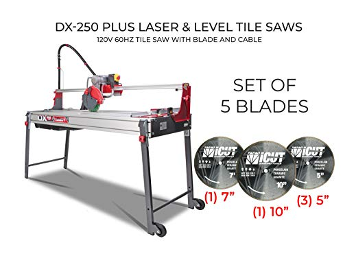 Best Bargain Rubi DX-250 PLUS Laser&Level tile saws - Bundle with Set of 5 Diamond Blades