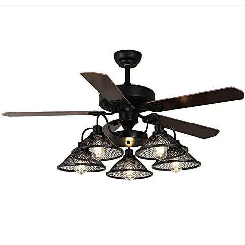 Illuminazione del ventilatore da soffitto con telecomando di conversione di frequenza intelligente, illuminazione a soffitto con lampadario muto regolabile a 6 velocità Velocità del vento 5 luci