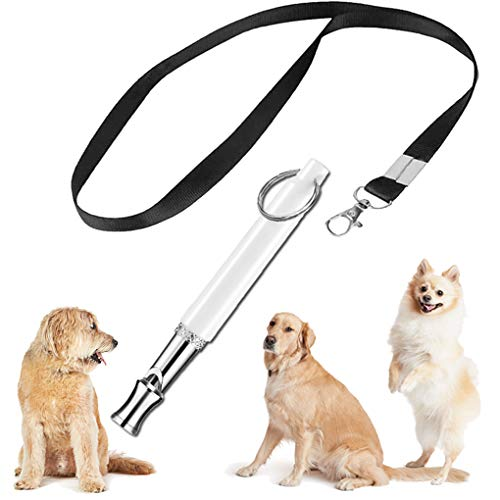 KMNKSCN Dog Whistle to Stop Barking, Adjustable Pitch Dog Whistles for Training with Lanyard Ultrasonic Bark Control Tool (Free E-Edition Training Tutorial) White