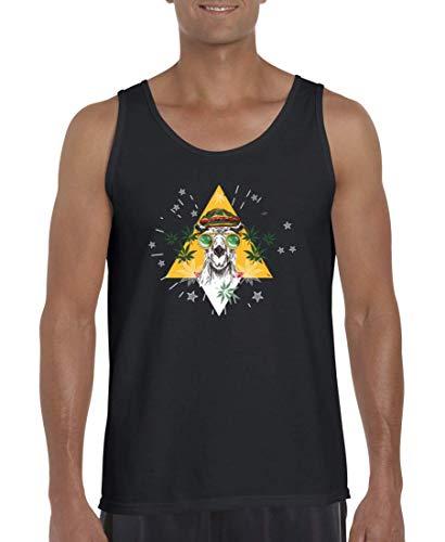 Druckerlebnis24 Camiseta sin mangas con diseño de camel Marihuana y gafas Jamaica, para hombres y mujeres