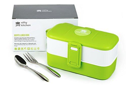 Nifty Kitchen Bento Lunch Box, Zwei Abteilungen mit Besteck Großartig für Gericht Vorbereitung, Erwachsene & Kinder. Auslaufsicher, Waschmaschinen sicher, Mikrowellen sicher