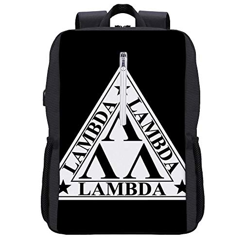 Lambda Logo Revenge of the Nerds Rucksack Daypack Bookbag Laptop Schultasche mit USB-Ladeanschluss