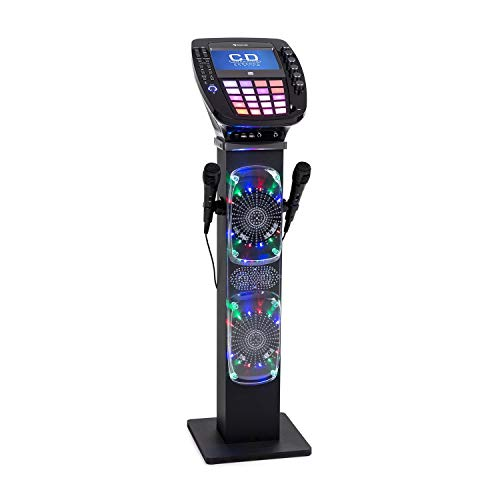auna KaraBig - Karaoke Anlage, Karaoke Player, Karaoke Set, Turmlautsprecher, Bluetooth, 2 x Mikrofon, CD+G-Player, USB-Port, Aufnahmefunktion, LED-Effekte, Tablethalterung grau