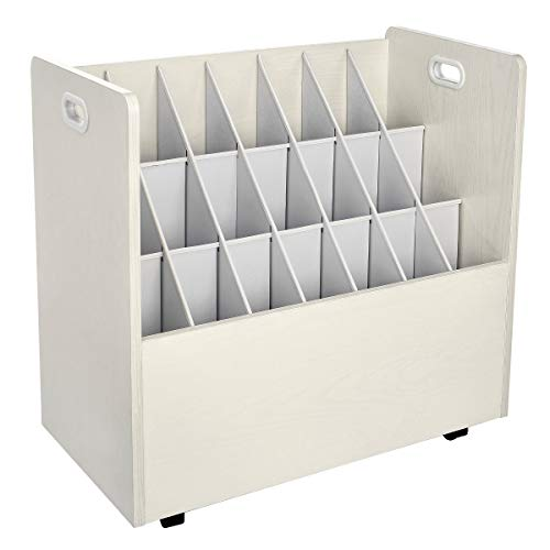 AdirOffice - 21 Slots - Mobile Wood Blueprint Roll File Holder - Architectural Plan Storage Organizer- for Home Office or School Use (White)