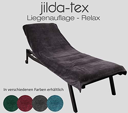 jilda-tex Schonbezug für Gartenliege Strandliege Sonnenliege Liegen-Stuhl Auflage 100% Bio-Baumwolle GOTS Frottee 80x200 cm (Anthrazit)
