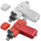 EASTBULL - Lote de 2 memorias USB C de 32 GB USB 2.0 OTG 3 en 1 tipo C USB 2.0 Micro USB - Memoria Stick de 32 GB Flash Drive U disco para PC Tablet Android Smartphone (rojo y blanco)
