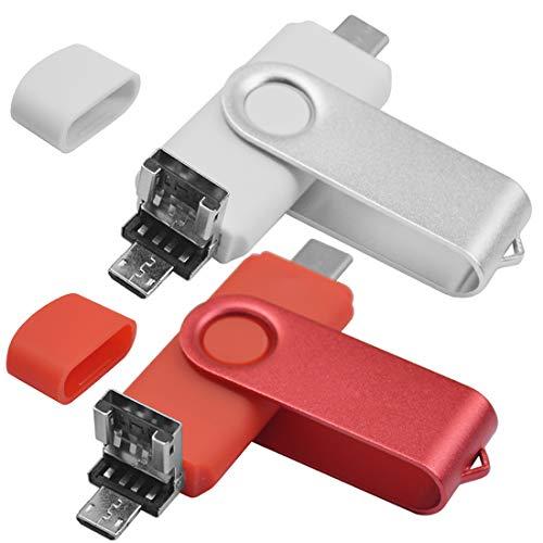 EASTBULL - Set di 2 chiavette USB C 32 GB OTG USB 2.0 3 in 1 tipo C USB 2.0 Micro USB chiave di memoria Stick 32 GB Flash Drive U disco per PC Tablet Android Smartphone (rosso e bianco)