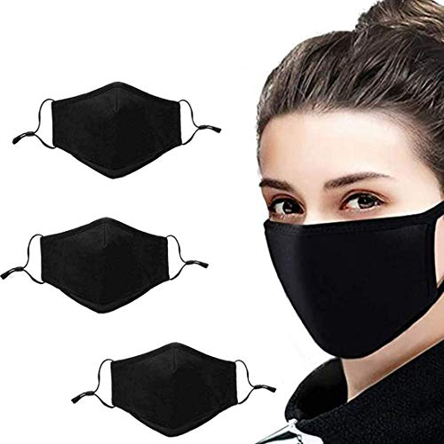 3pcs Washable Reusable Cotton Face Protection Protector Mouth Protection Comfortable Non-Elastic Ear Loops, Unisex