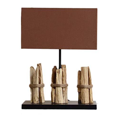 Lámparas Original resistido ecológica de lujo de la lámpara de mesa de madera Habitación Sala hotel lámpara de mesa lámpara de mesa de madera rectangular de tela cubierta de la lámpara E27 interruptor