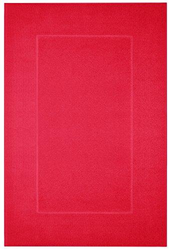 Lashuma Badezimmermatte Rot - Zinnober, Rutschhemmende Badmatte, Prestige 60 x 90 cm