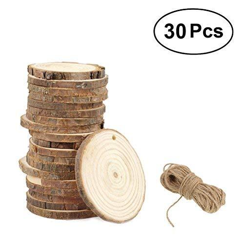 Rosenice - Lot de 50 tranches de bois pour loisirs créatifs, diamètre 3-4 cm, avec 10 mètres de ficelle de jute, Palissandre, bois, 7-8CM