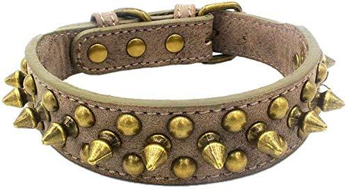 SNFHL Collares de Bronce con Púas Anti-Mordidas, Collares para Perros con Incrustaciones, Collares para Cachorros Remaches Perros Pequeños, Perros Medianos,S-Grey