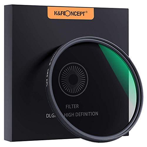 K&F Concept Filtro polarizador CPL Slim 58mm Vidrio Alemán Schott con 18 Capas Recubrimiento Multirresistente y Funda.