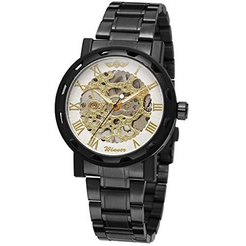 LUCAMORE - Reloj mecánico de lujo para hombre, resistente al agua, reloj de pulsera de acero inoxidable, estilo de negocios, regalos - - Talla unica