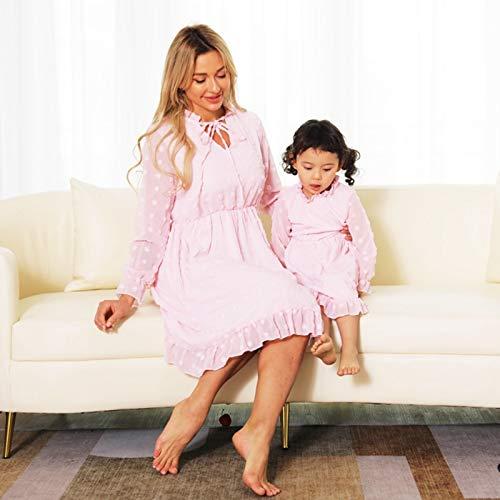 Moeder En Dochter Jurk,Mode Lente Zomer Moeder Dochter Jurk Voor Gezinnen Bijpassende Kleding Roze Baby Volledige Mouw Dames Jurk Uiterlijk Casual Feest Elegant Eenvoudig, Mom S